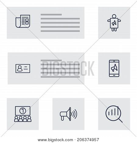 Collection Of Promotion, Audience, Newspaper And Other Elements.  Set Of 7 Advertising Outline Icons Set.