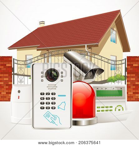 Home access control system - Video door phone, alarm system, motion sensor, cctv camera- stock illustration