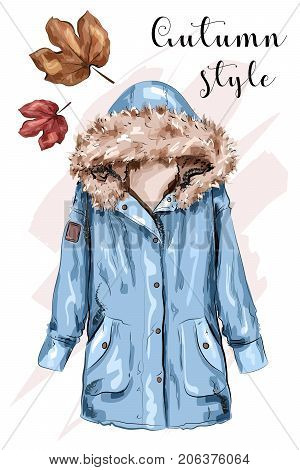 Cute hand drawn autumn jacket. Stylish winter jacket. Sketch. Vector illustration.