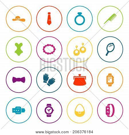 Collection Of Woman Hat, Beachwear, Smart Watch And Other Elements.  Set Of 16 Decorating Icons Set.
