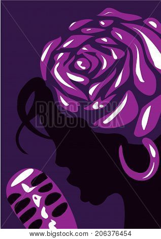 Jazz poster template. Jazz poster with a girl singing into a microphone and a flower on her head. Vector illustration on a color background