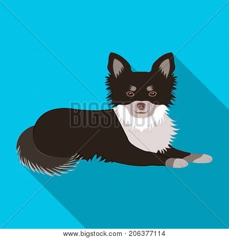A pet, a lying dog. Pet, dog care single icon in flat style vector symbol stock illustration .