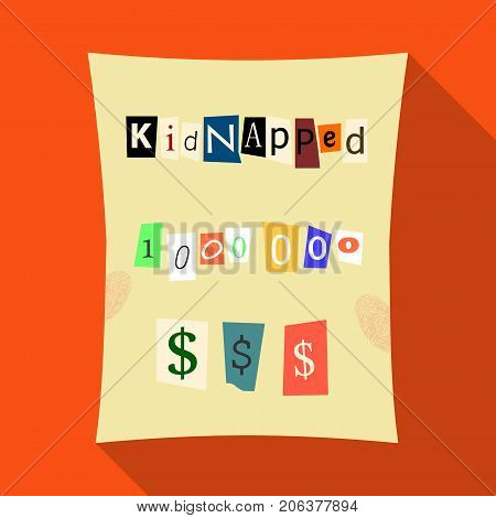 Abduction and ransom, criminal demand on the sheet. Kidnapping. single icon in flat style vector symbol stock illustration .