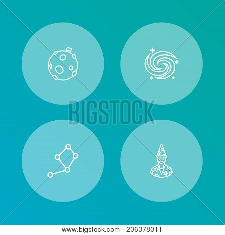 Collection Of Astrologer, Constellation, Galaxy And Other Elements.  Set Of 4 Galaxy Outline Icons Set.