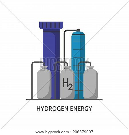 Hydrogen plant icon in flat style. Renewable energy production symbol isolated on white background.
