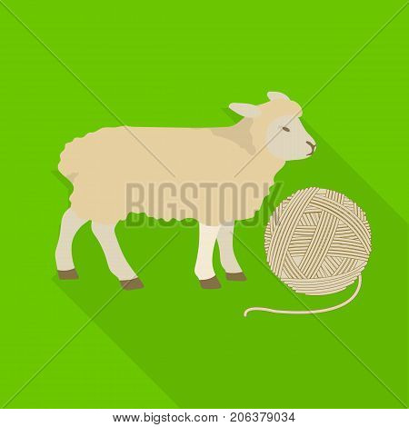 Wool, single icon in flat style.Wool vector symbol stock illustration .