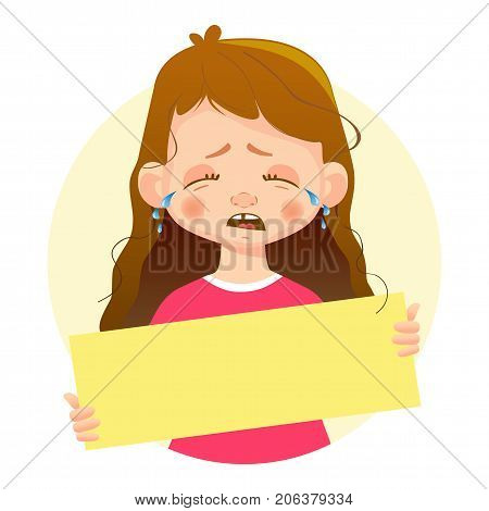 Crying Girl holding blank poster. Blank message illustration. Hands holding blank paper