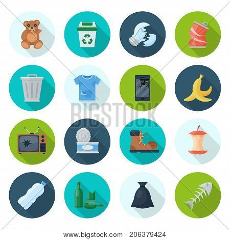 Trash icon set. Garbage dump and recycle button, industrial and yard waste. Vector flat style cartoon illustration isolated on white background