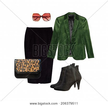 Set of stylish clothes collection for autumn and spring seasson. Collage of women's clothing on isolated white background.