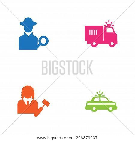 Collection Of Lawyer, Police Car, Inspector And Other Elements.  Set Of 4 Criminal Icons Set.