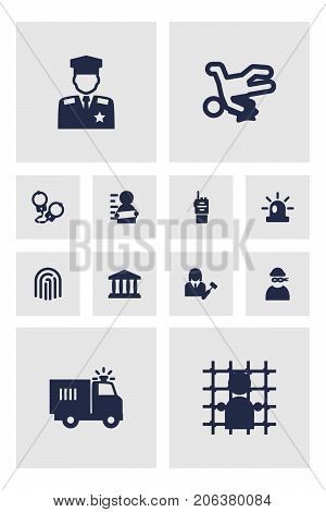 Collection Of Thief, Jail, Truck And Other Elements.  Set Of 12 Crime Icons Set.