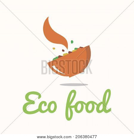 Vector logo template for vegan cafe restaurant shop. Illustration of dishes with food and the steam emanating from it. Creative design for eco food store logotype. EPS10. Vegetarian icon.