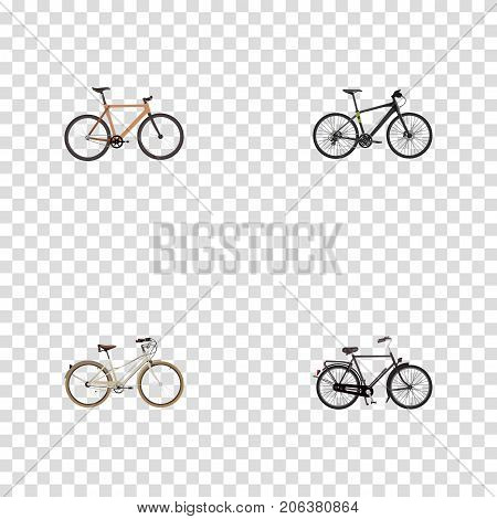 Realistic Training Vehicle, Timbered, Hybrid Velocipede And Other Vector Elements