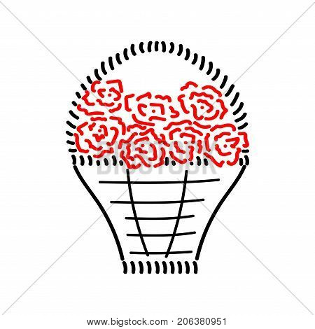 Basket with roses sign. Image of handmade weave. Color icon isolated on white background. Red seven roses in decorative wicker basket for gift. Logo for invitation. Stock vector illustration