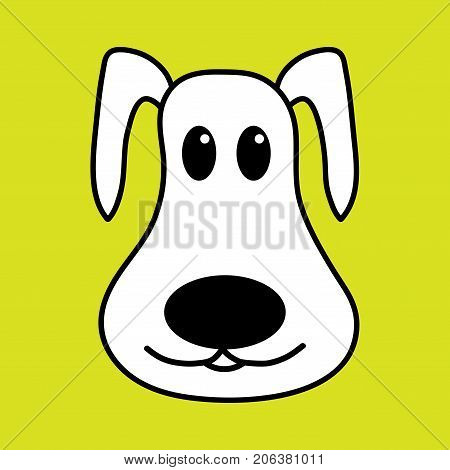 Dog face sign. Image of cute domestic animal. Beautiful monochrome icon isolated on yellow background. Symbol of funny doggy. Logo for 2018 New Year. Mark of puppy. Stock vector illustration