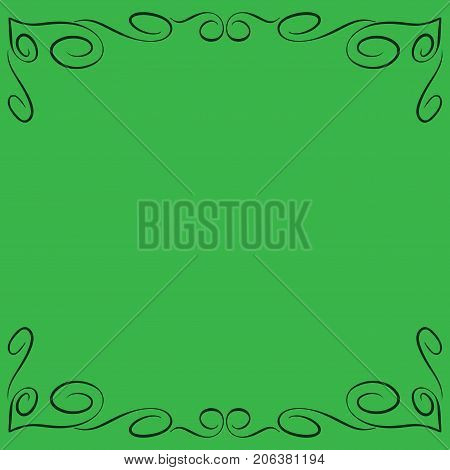 Frame green. Decoration banner rim. Color framework isolated on green background. Modern art scoreboard. Border from curlses and curves. Decoration concept. Stock vector illustration