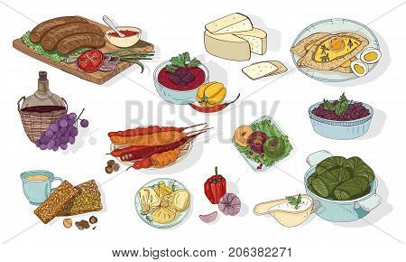 Georgian cuisine. Different dishes. Hand drawn colorful vector illustration