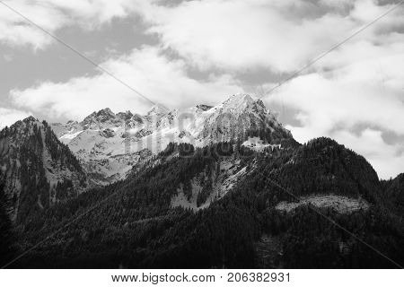 Peaks of austrian alps in winter black and white