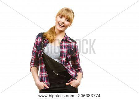 Standing Woman Wearing Dungarees Laughing