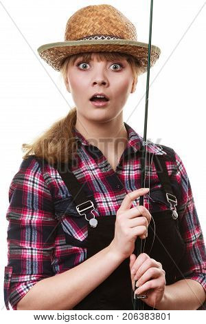 Shocked Woman In Sun Hat Holding Fishing Rod