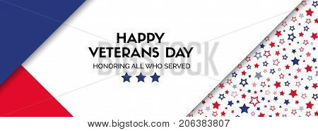 Vector banner for veterans day in USA. Facebook cover size