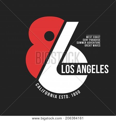 California, Los Angeles Typography For T-shirt Print. Sports, Athletic T-shirt Graphics