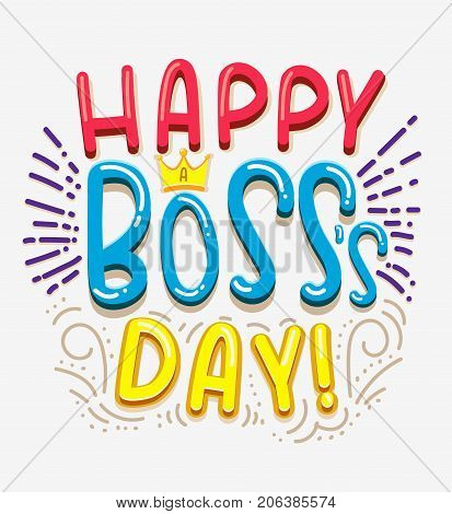 Boss's day card set with modern calligraphy.Gift tags with gold, black, white colors. Lettering deign for greeting cards or party invitations. Best boss ever. You are the best boss. Happy Boss's Day.
