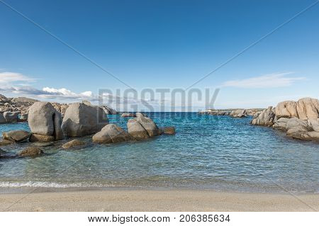 Rocky Coastline And Sandy Beach At Cavallo Island Near Corsica