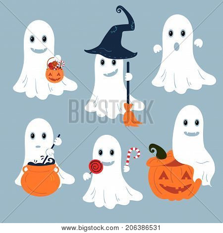 Set of vector ghosts for Halloween design. Pumpkings and decor