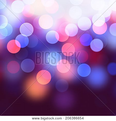 Vector realistic abstract background with blurred defocused bokeh lights