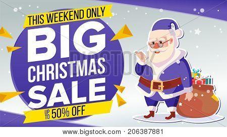 Christmas Sale Banner Vector. Cute Xmas Santa Claus. Crazy Sale Poster. Cartoon Business Brochure Illustration. Design For Xmas Banner, Brochure, Poster, Discount Offer Advertising.
