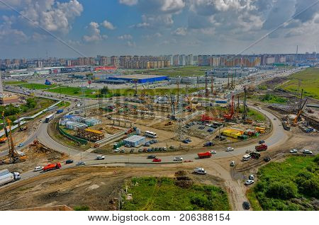 Tyumen Russia - July 29 2016: Construction of two-level outcome on bypass road on Fedyuninskogo and Melnikayte streets intersection