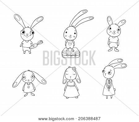 Set of cute cartoon bunny. Beautiful rabbits in dresses. Little hares. isolated objects on white background. Vector illustration.