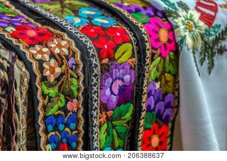 Belt and embroidery at one old traditional Romanian folk costume specific for Bistrita-Nasaud area Romania.