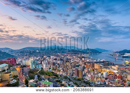 Nagasaki, Japan cityscape at dusk.
