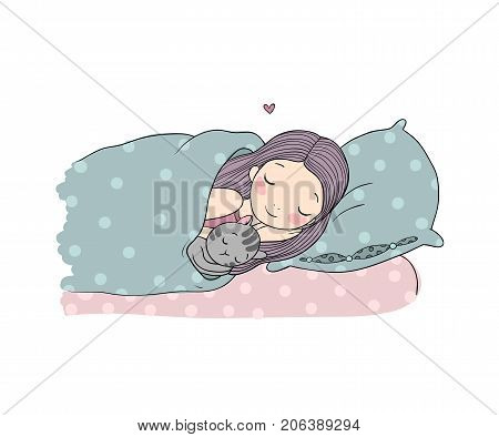 Sleeping girl and cat in bed. Good night. Sweet dreams. Vector illustration. bed time. Isolated objects on white background.