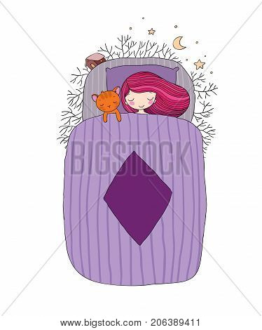 A girl and a cat sleep in bed. Good night. Sweet dreams. Vector illustration. bed time. Isolated objects on white background. Trees, a house and a starry sky.