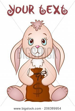 Cartoon Funny Rabbit, Cute Little Bunny, Siting with Bag of Money in Paws, Holiday Symbol, Isolated on White Background. Vector