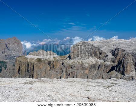 Sass Pordoi in Dolomites mountains Italy .