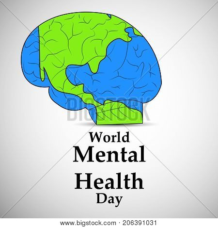 illustration of brain in earth background with World Mental Health Day text on the occasion of World Mental Health Day