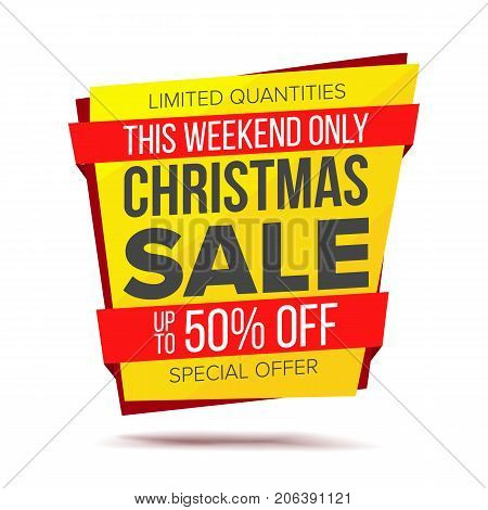 Biggest Xmas Offer Sale Banner Vector. Crazy Sale Poster. Isolated Illustration