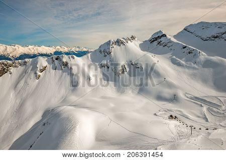 Winter mountain landscape - ski resort in Sochi Russia