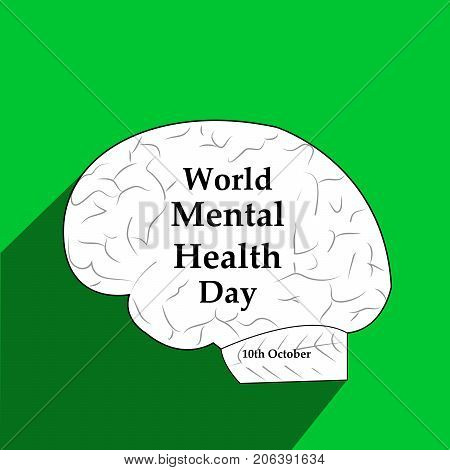 illustration of brain with World Mental Health Day text on the occasion of World Mental Health Day