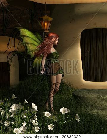 Fantasy illustration of a pretty fairy visiting a toadstool house in the forest at night, digital illustration (3d rendering)
