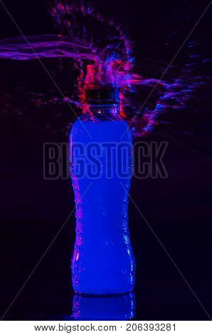 Isotonic Drinks For Sportsmen, On Background Black