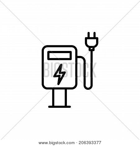 Thin Line Electric Car Charge Station Icon
