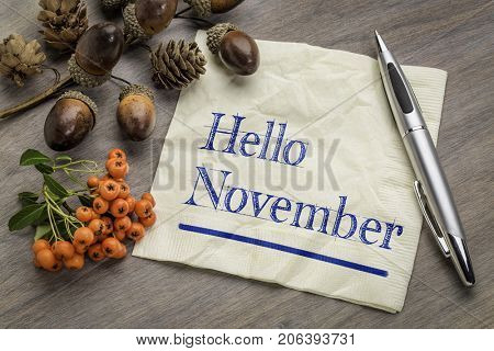 Hello November handwriting on a napkin with cone, acorn and firethorn season decoration