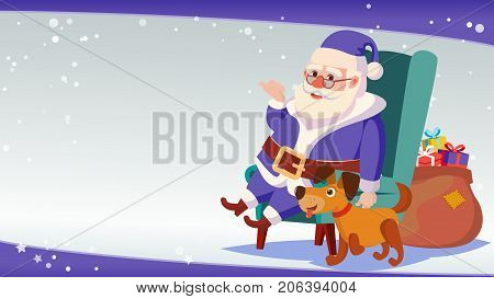 Christmas Sale Banner Template Vector. Xmas Santa Claus. Big Sale Offer. For Xmas Banner, Brochure, Poster, Discount Offer Advertising.