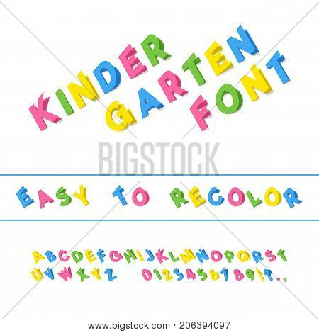 Kindergarten Font. Folded Paper Cut Sans Serif Typeface. Letters Numbers Punctuation Marks. Kids Latin Alphabet. Vector
