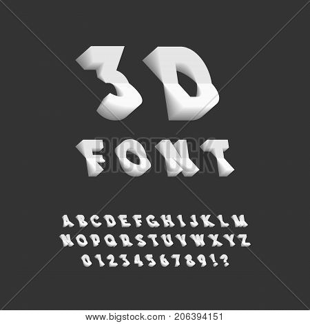 3D Font. Plastic Sans Serif Typeface. Letters Numbers Punctuation Marks. Latin Alphabet. Vector